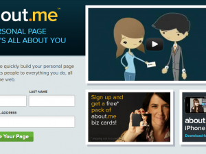 About.me home page screenshot