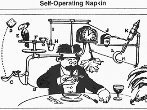 By Rube Goldberg (an old comic book) [Public domain], via Wikimedia Commons